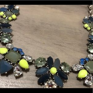 Chartreuse and blue necklace with silver accents